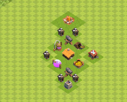 Clash of Clans расстановка базы кубки ТХ1 - TH1