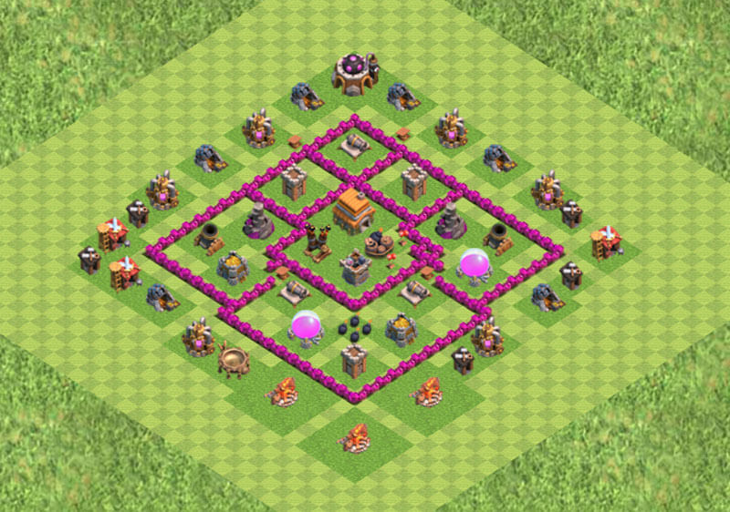 Clash of Clans расстановка базы кубки ТХ6 - TH6