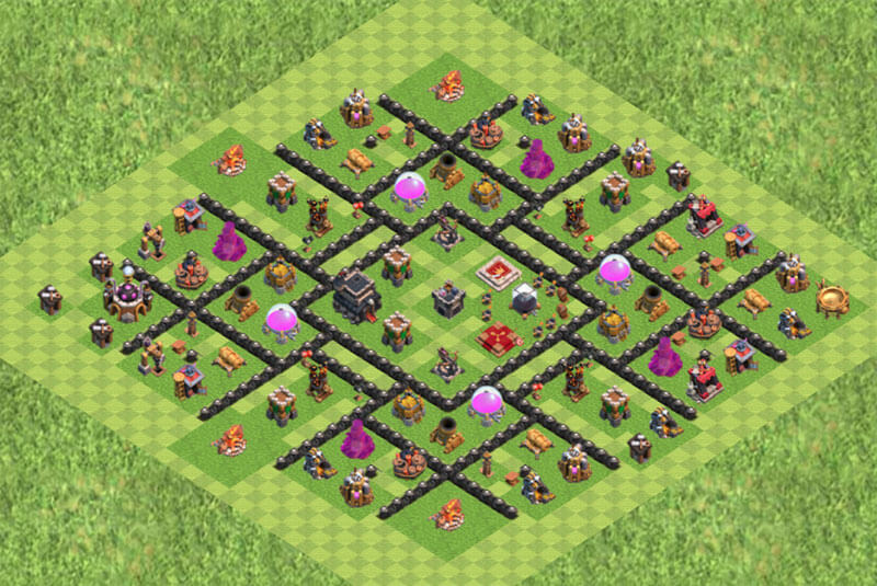 Clash of Clans расстановка базы кубки ТХ 9 / TH 9 / Ратуша 9